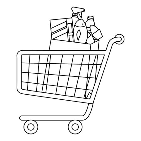 shopping cart with supermarket products vector illustration design 版權商用圖片 - 115013789