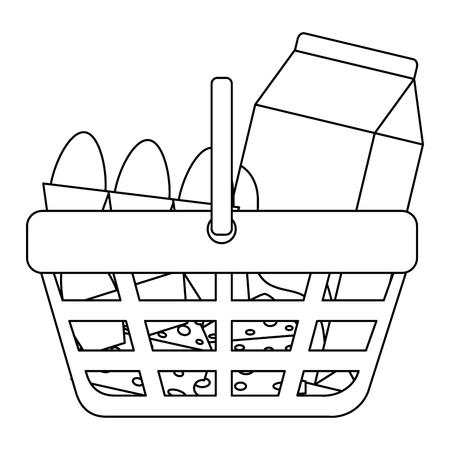 shopping basket with supermarket products vector illustration design Illustration