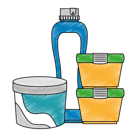 set bottles products icon vector illustration design  イラスト・ベクター素材