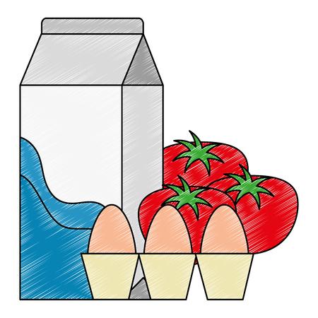 milk box with tomatoes and eggs vector illustration design Standard-Bild - 115013820