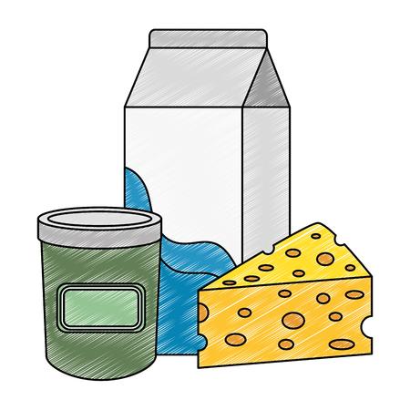 milk box with cheese fresh vector illustration design
