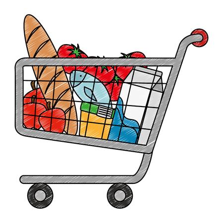 Einkaufswagen mit Vektor-Illustrationsdesign der Supermarktprodukte