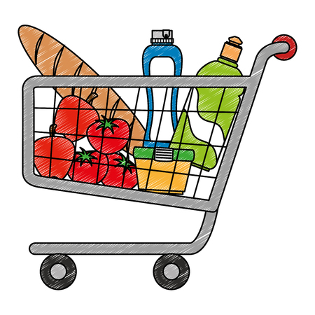 shopping cart with supermarket products vector illustration design Stock Vector - 115013828