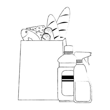 paper bag with supermarket products vector illustration design