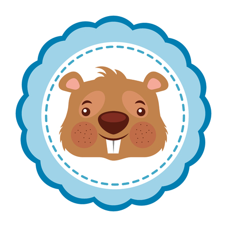 cute beaver rodent funny label vector illustration