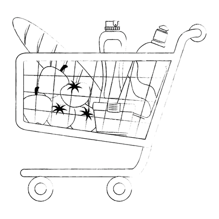 shopping cart with supermarket products vector illustration design Banque d'images - 115013873