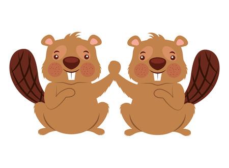 cute couple beaver animal rodent vector illustration