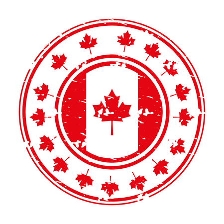 grunge style label with canadian flag vector illustration  イラスト・ベクター素材