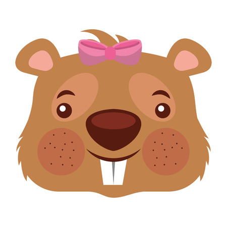 cute girl beaver funny animal vector illustration