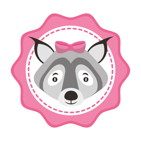 beautiful cute wolf with bow label vector illustration Illustration