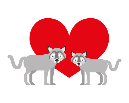 cute couple wolf animal in love heart vector illustration