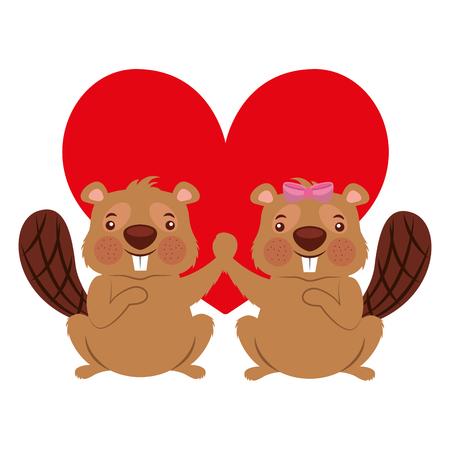Couple mignon animal castor amoureux coeur vector illustration