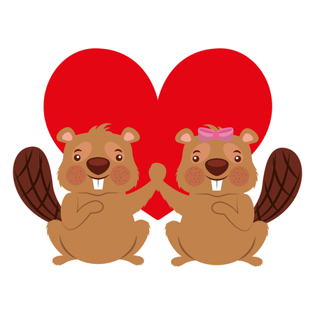 cute couple beaver animal in love heart vector illustration