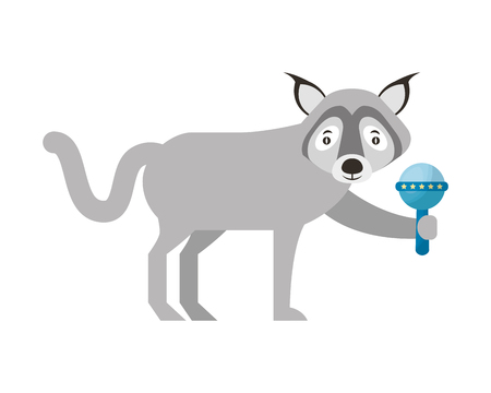 gray wolf wildlife holding rattle baby vector illustration