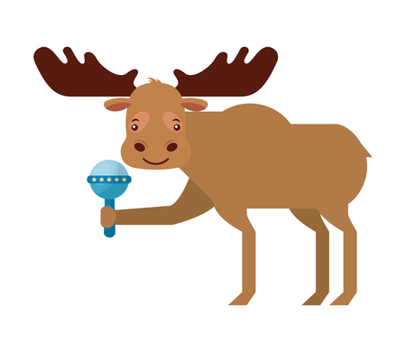 cute male moose with rattle toy vector illustration