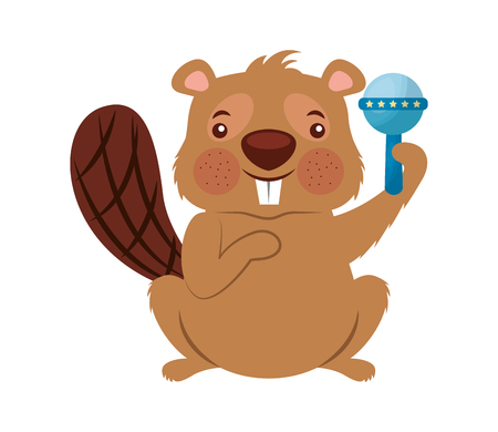 cute beaver funny rattle toy vector illustration Иллюстрация