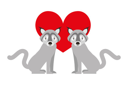 cute couple wolf animal in love heart vector illustration
