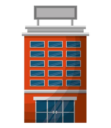 hotel building facade billboard in roof vector illustration