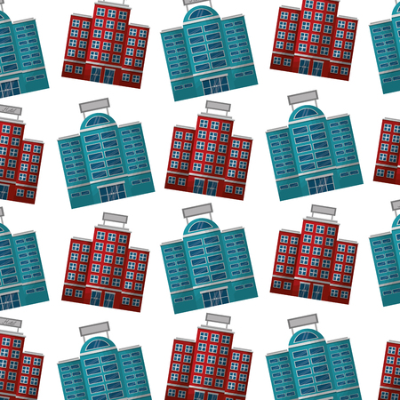 travel tourism hotel facade pattern vector illustration