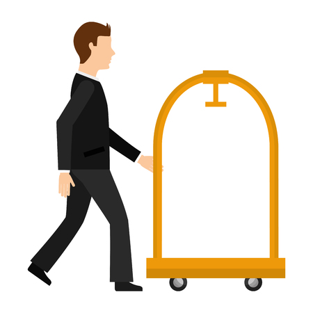 man walking with hotel luggage trolley vector illustration