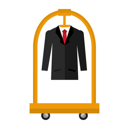 hotel luggage trolley with hanging suit vector illustration
