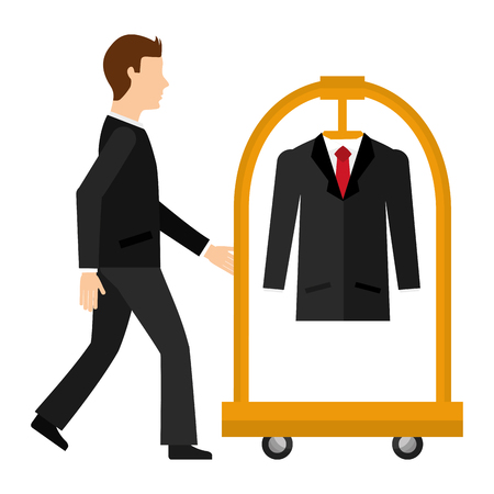 man with hotel luggage trolley and suit vector illustration Illustration