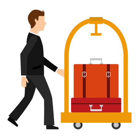 man with suitcases hotel luggage trolley vector illustration Ilustração