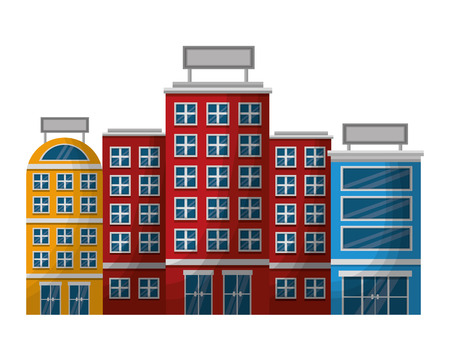 accommodation building facades luxury hotel vector illustration Ilustracja