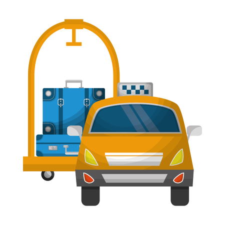 travel tourism taxi hotel luggage trolley vector illustration