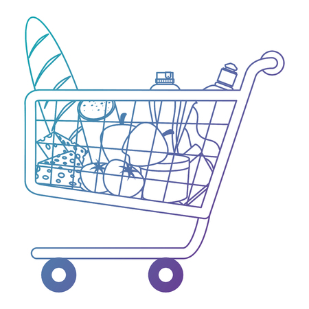 shopping cart with supermarket products vector illustration design Banque d'images - 115013947