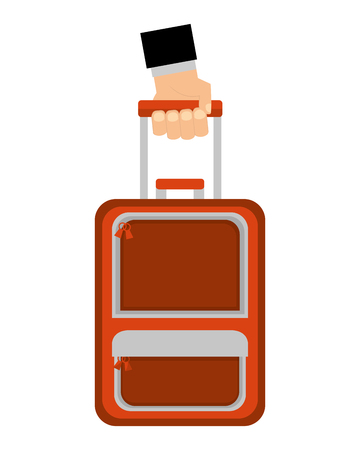 hand holding suitcase tourism travel vector illustration