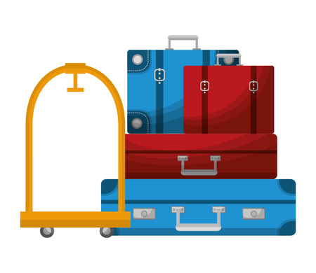 hotel luggage trolley stacked suitcases vector illustration Çizim