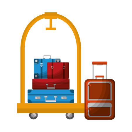 hotel luggage trolley pile suitcases and modern bag vector illustration Illusztráció