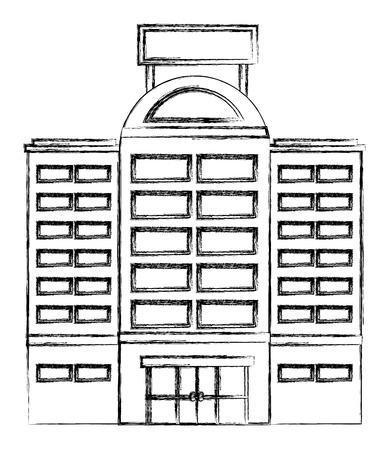 hotel building facade billboard in roof vector illustration Standard-Bild - 115013956