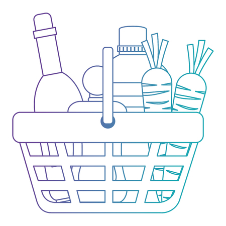 shopping basket with supermarket products vector illustration design Ilustração