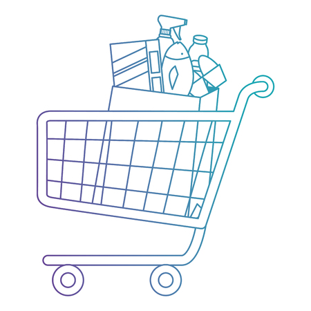 shopping cart with supermarket products vector illustration design Banque d'images - 115013959