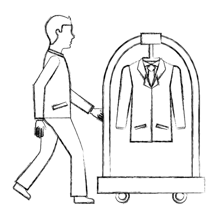 man with hotel luggage trolley and suit vector illustration Stock Illustratie