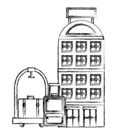 building facades luxury hotel luggage trolley vector illustration Ilustração