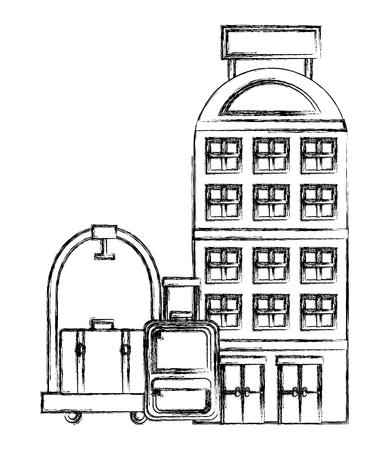 building facades luxury hotel luggage trolley vector illustration Illustration