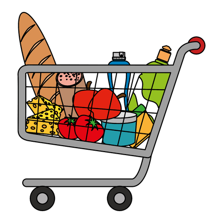 shopping cart with supermarket products vector illustration design Stock Vector - 104482923