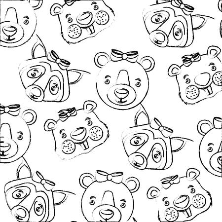 cute bear wolf beaver heads decoration background vector illustration