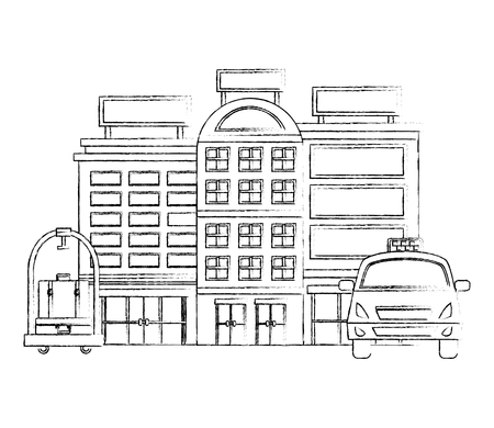accommodation building luxury hotel taxi luggage trolley vector illustration Illustration