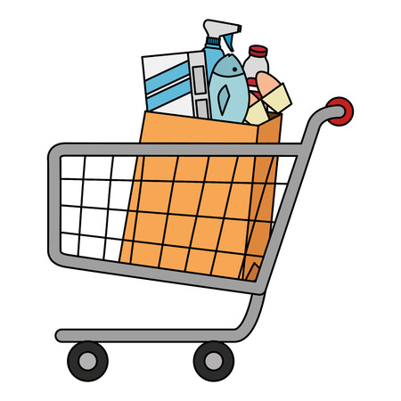 shopping cart with supermarket products vector illustration design Banque d'images - 115014017