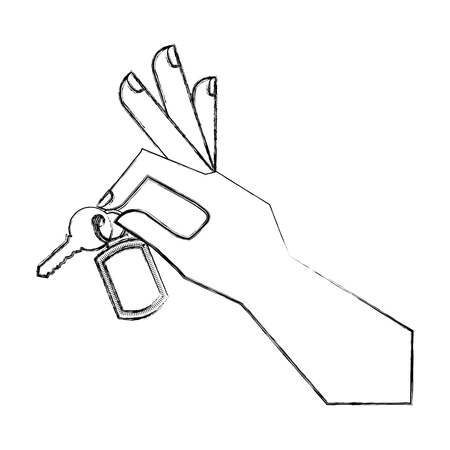 hand holding keychain and key vector illustration