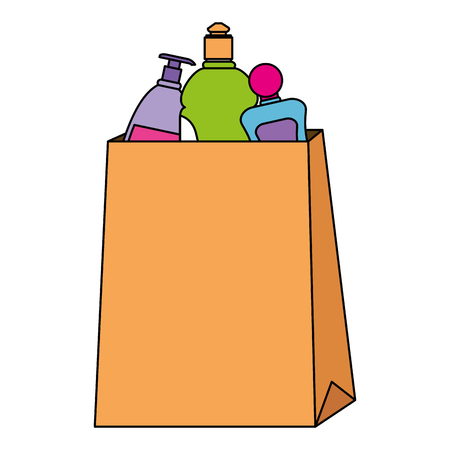 paper bag with supermarket products vector illustration design