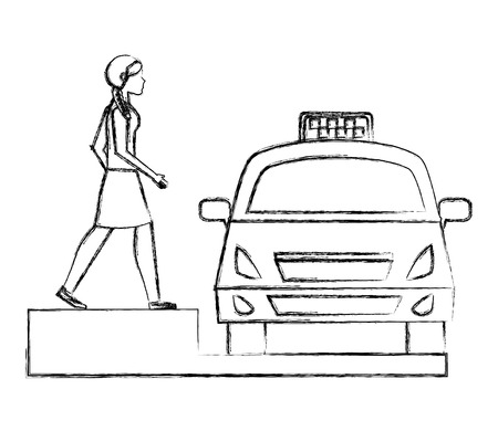 young woman taking taxi service public vector illustration