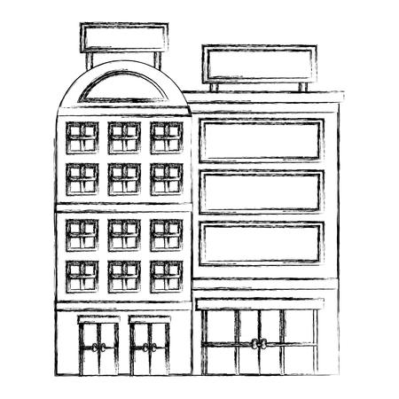 building hotel facade billboard in roof vector illustration