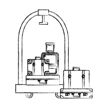 hotel luggage trolley pile suitcases and bag vector illustration Illusztráció