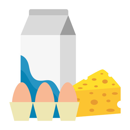 milk box with cheese and eggs vector illustration design Illustration