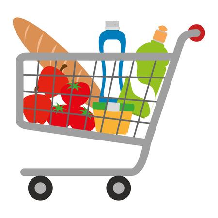 Carro de compras con productos de supermercado, diseño de ilustraciones vectoriales